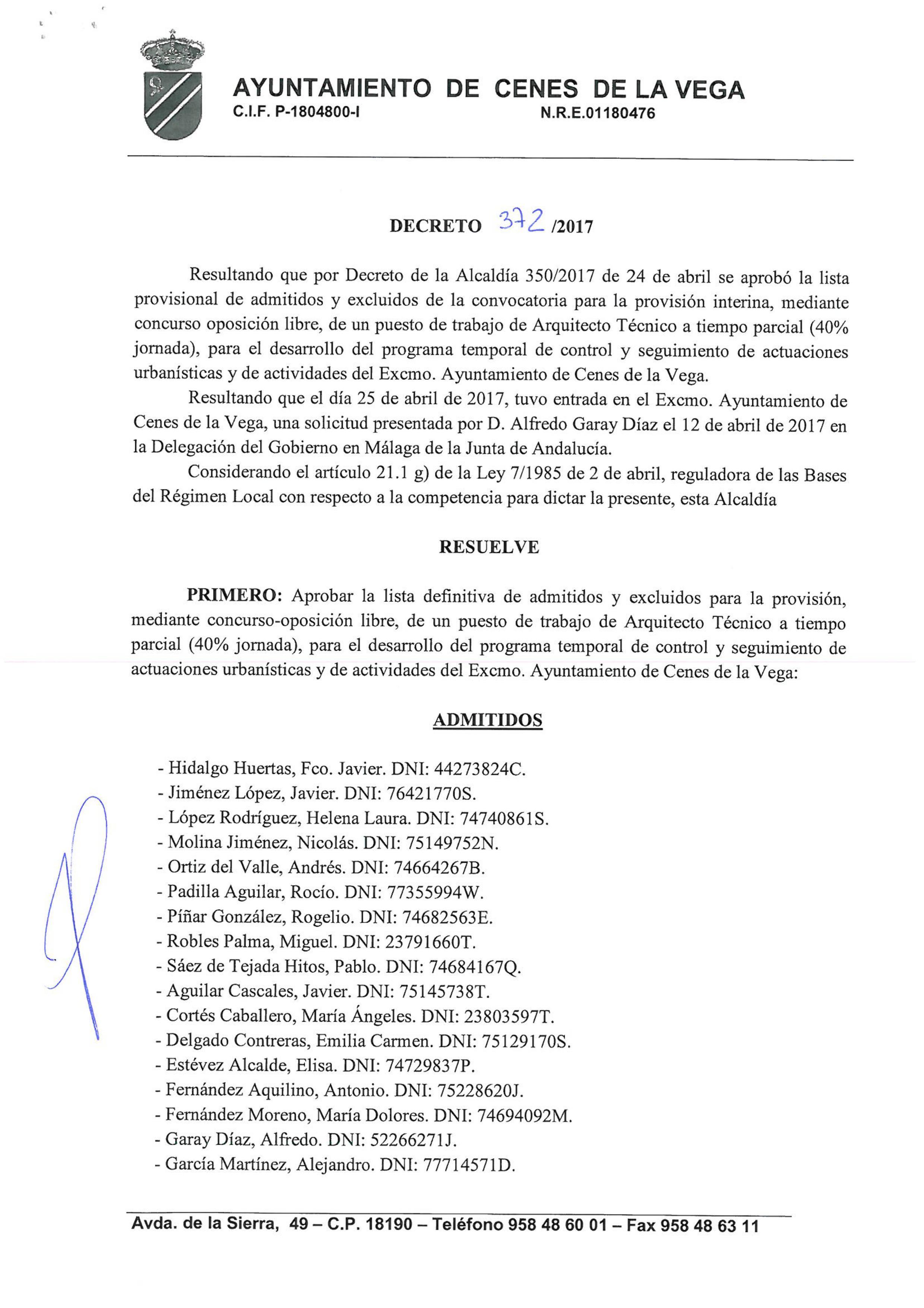 Listado definitivo arquitecto técnico   Ayuntamiento de Cenes de la ...