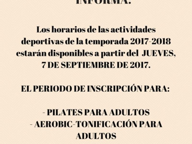 INFORMACIÓN ACTIVIDADES DEPORTIVAS