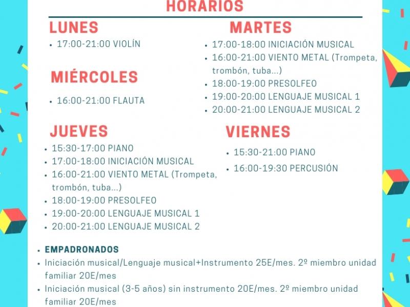 Horarios Escuela de Música