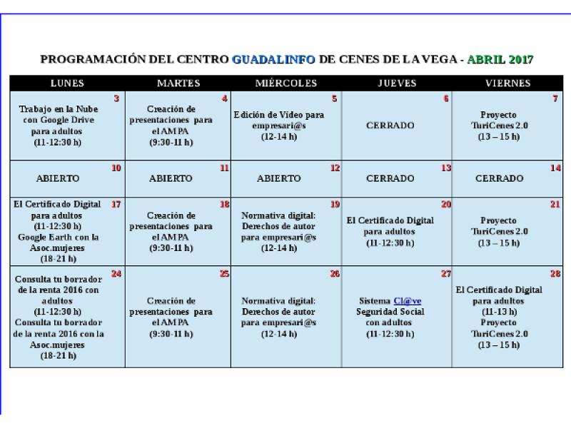 Programación Centro Guadalinfo Cenes de la Vega en abril 2017