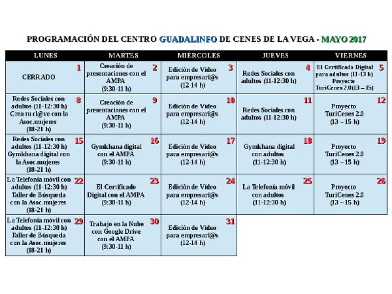 Programación Centro Guadalinfo Cenes de la Vega en mayo 2017