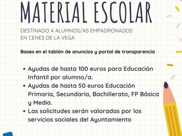 Convocatoria de ayudas para material escolar