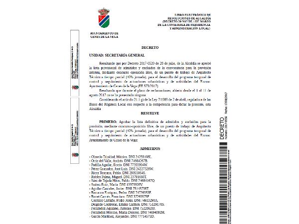 LISTA DEFINITIVA DE ADMITIDOS ARQUITECTO TECNICO EXP 573