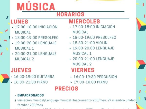 Horarios Música Actualizado
